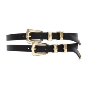 Cintura In Pelle Doppia A Due Fibbie B-LOW THE BELT