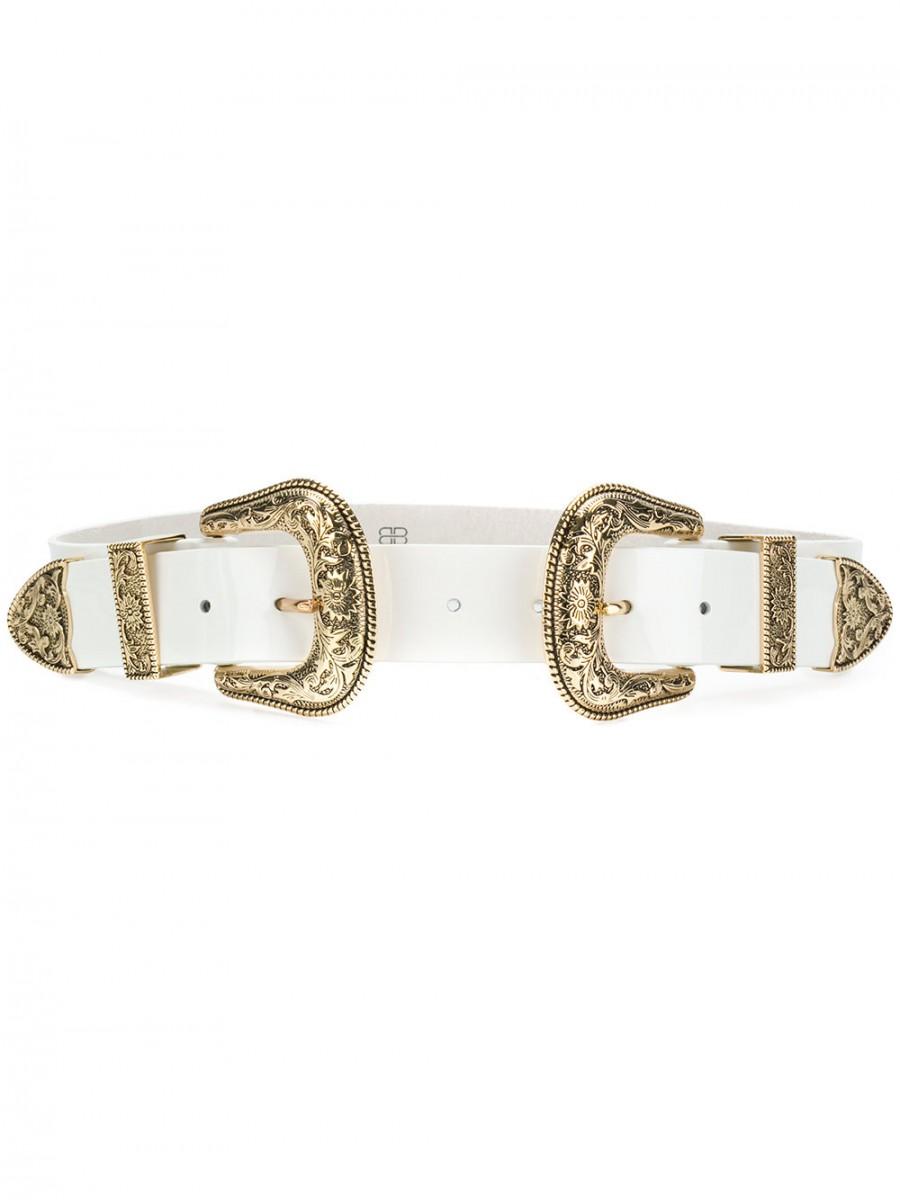 bellissimo aspetto stile di moda sito affidabile Cintura in pelle patent doppia fibbia oro B-LOW THE BELT | Vademecum