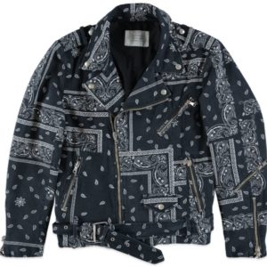 Giacca Biker Slim Fit Bandana Denim ROUTE DES GARDEN