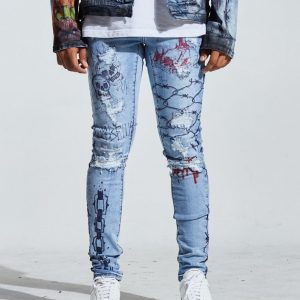 Denim Painted Destroyed EMB NYC