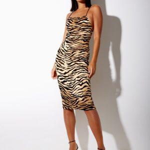 Midi Dress Tiger Gold