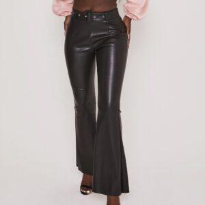 Pantalone In Ecopelle Con Cintura