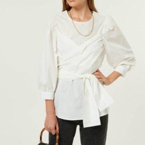 Camicia Con Fiocco In Cotone