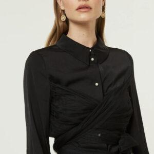 Camicia In Viscosa Con Cintura In Tulle