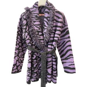 Cardigan Jaquard Leo/zebra Con Fili In Lurex