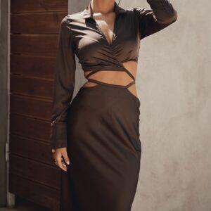 Choco Satin Skirt
